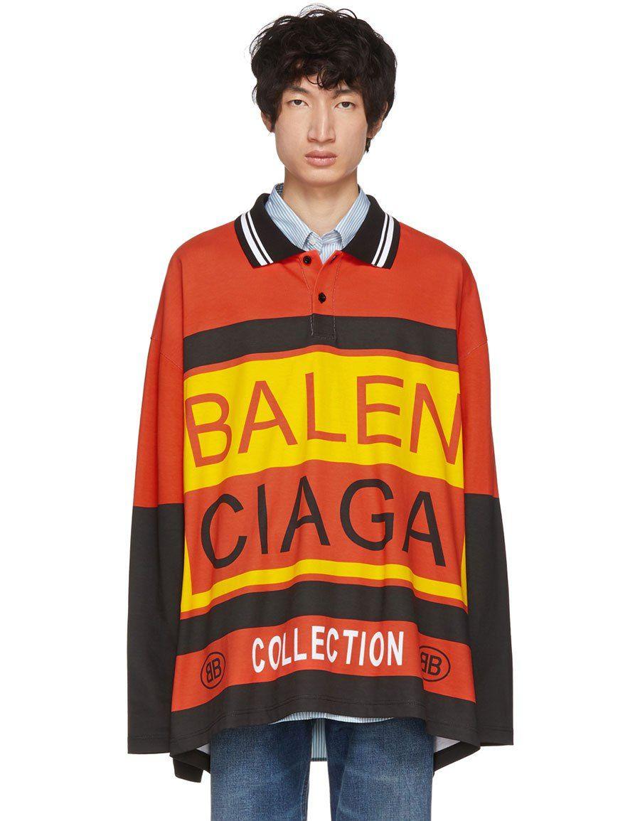 982c9c473 h3>BALENCIAGA</h3> Multicolor Logo Oversized Polo | Men Clothing ...