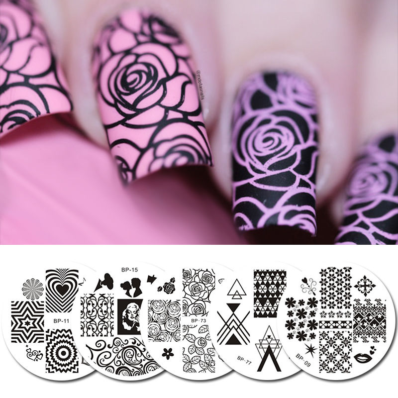5Pcs/Set Born Pretty Stamping Plate Template Flower Heart Round Nail ...