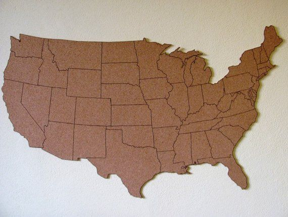 Us Map On Cork Board.Corkboard Map Of Us With Outline Of States Size M Measures Approx
