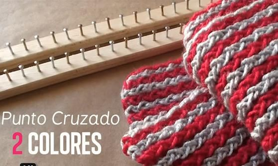 Loom Knitting With Two Colors : Excellent tutorial for a two color scarf on made loom. diy