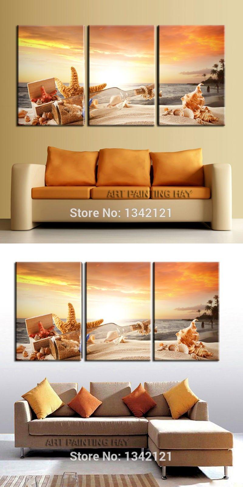 Three shell drift bottles sunrise modern home decorative painting