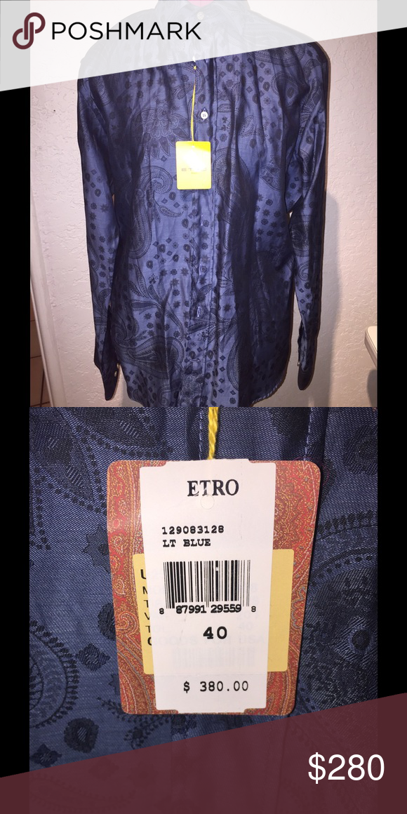 Etro button down Light blue etro button down. Made in Milan, Italy. New with tags. Etro Shirts Dress Shirts