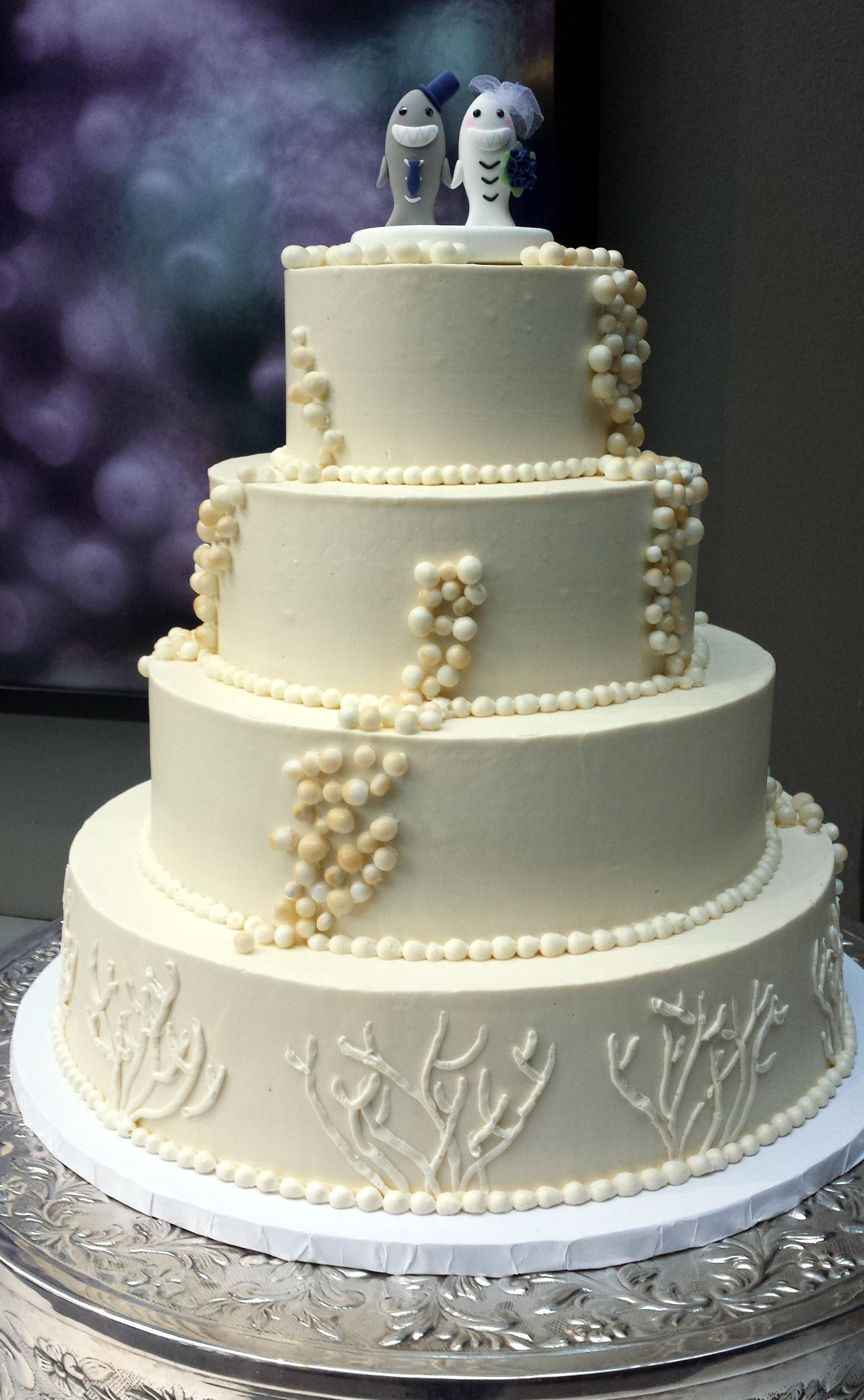 Gluten Free Buttecream Wedding Cake with Piped Coral and Fondant