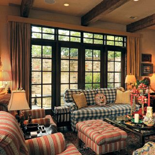 Plaids With Stripes French Country Decorating Living Room