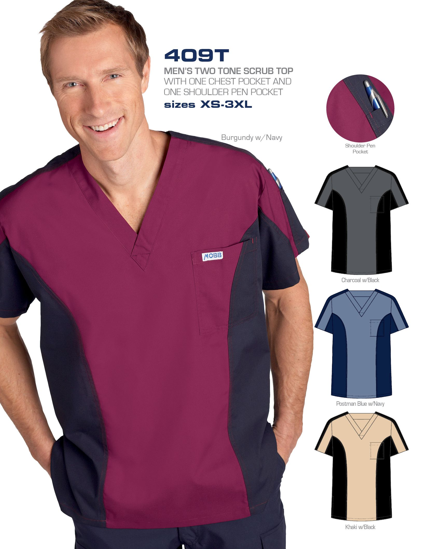 MEN\'S TWO TONE SCRUB TOP - Nurse Uniforms | Medical Wear | Dixie ...