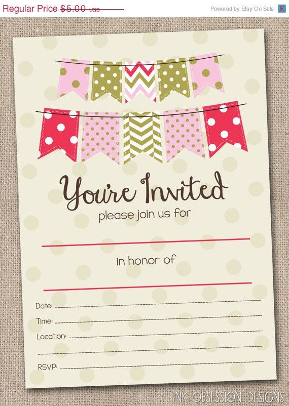 40 Off Sale Fill In Blank Party Invitations By Inkobsessiondesigns