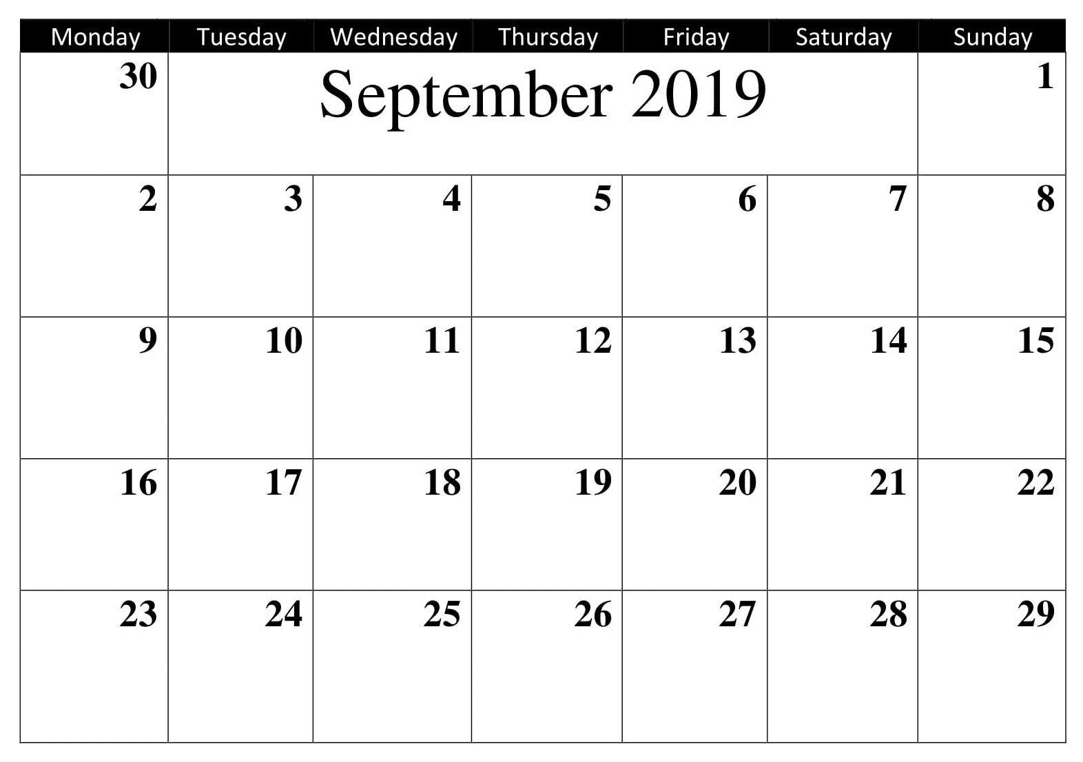 Printable Calendar September 2019 Word Calendar Template 2019