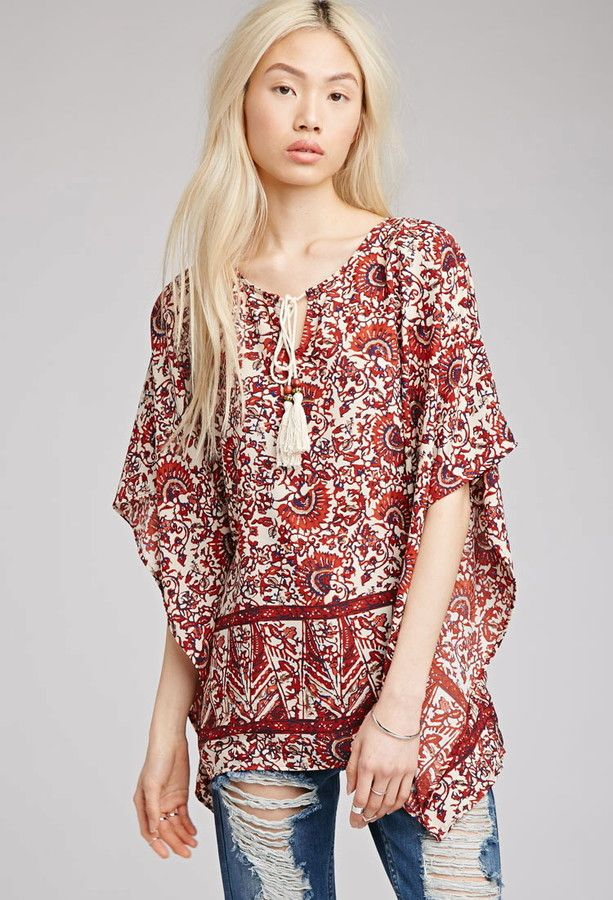FOREVER 21 Abstract Print Peasant Blouse