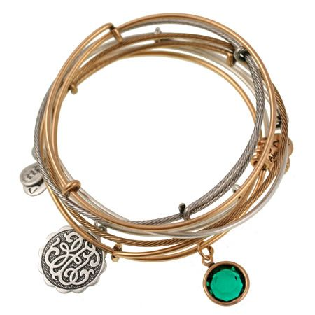 L Gold And Silver Bangles Wih Dark Green Gem Charm Alex Ani The Good Path Set Of 5 Expandable Wire By Tristan Prettyman