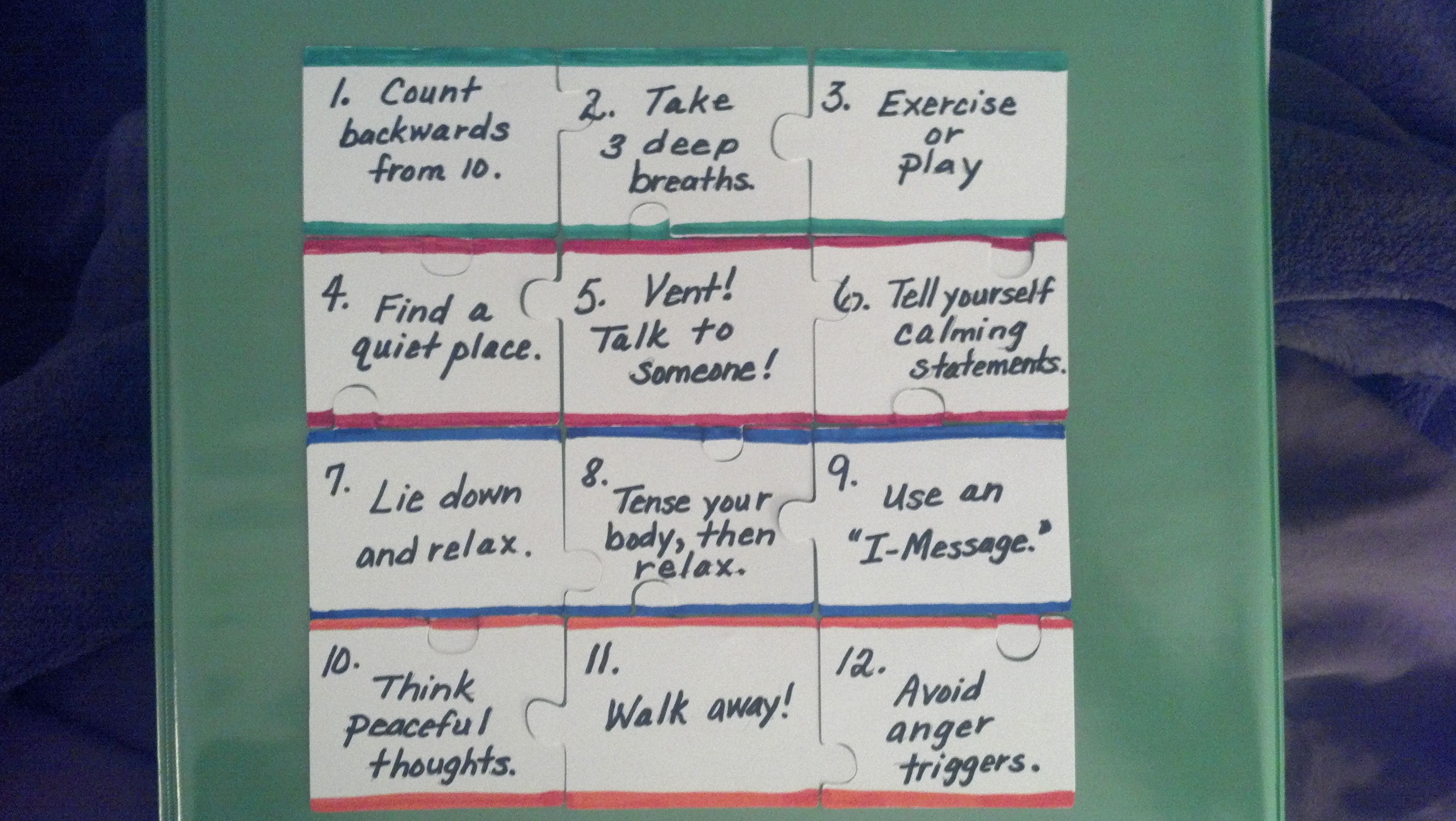 Anger Calming Strategies In A Puzzle
