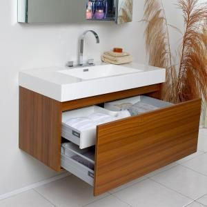 Fresca Mezzo 40 In Vanity In Teak With Acrylic Vanity Top In White With White Basin And Mirrored Me Teak Bathroom Vanity Cheap Bathroom Vanities Teak Bathroom