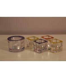 Set cinco portavelas cristal