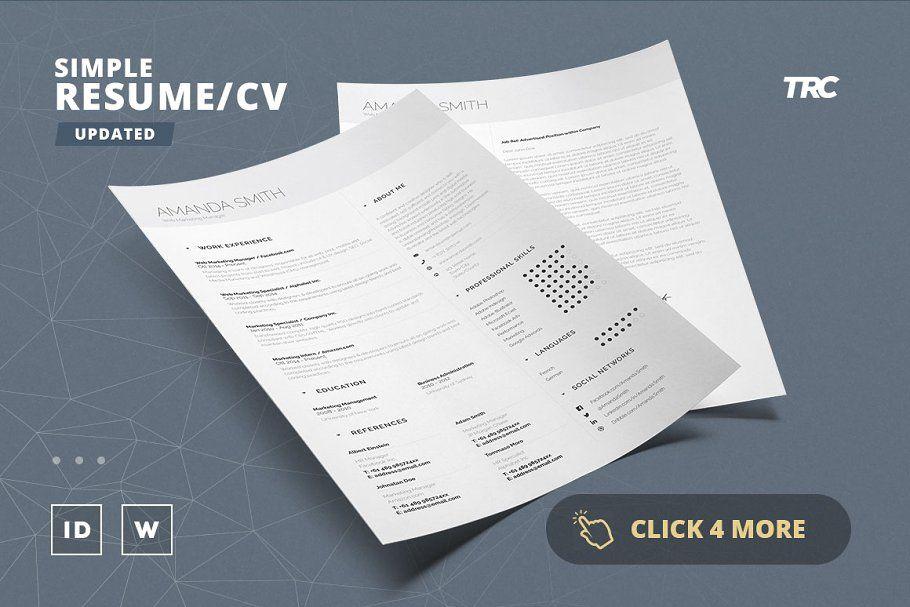 Simple Resume Cv Template Volume 5 Simple Resume Creative Resume Templates Cv Template