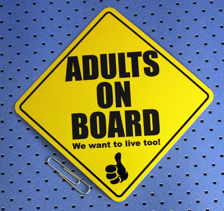 Get this funny adults on board bumper sticker in the csm shop along with many