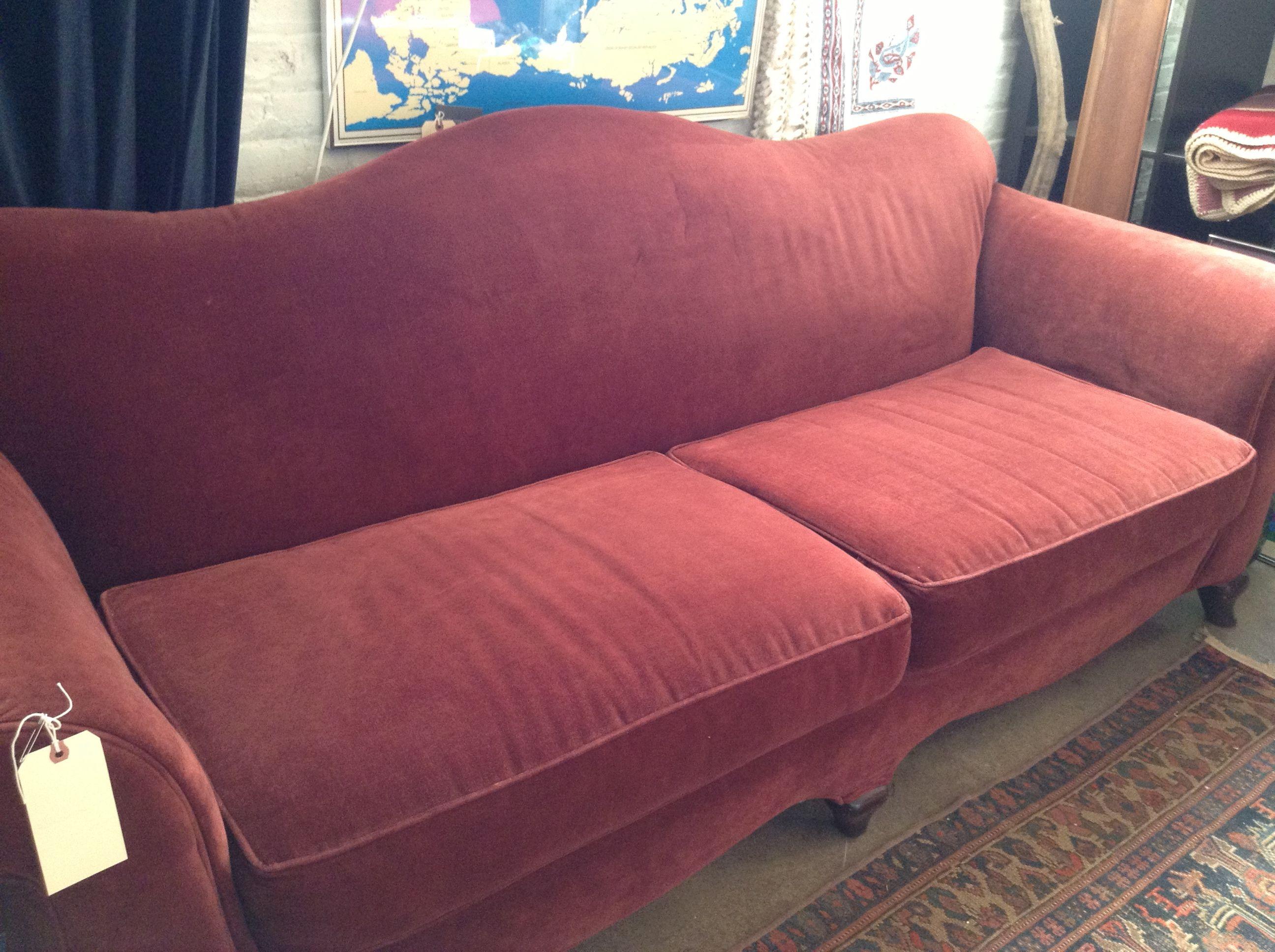 Vintage Burgundy Camel Back Sofa Price Reduction SOLD