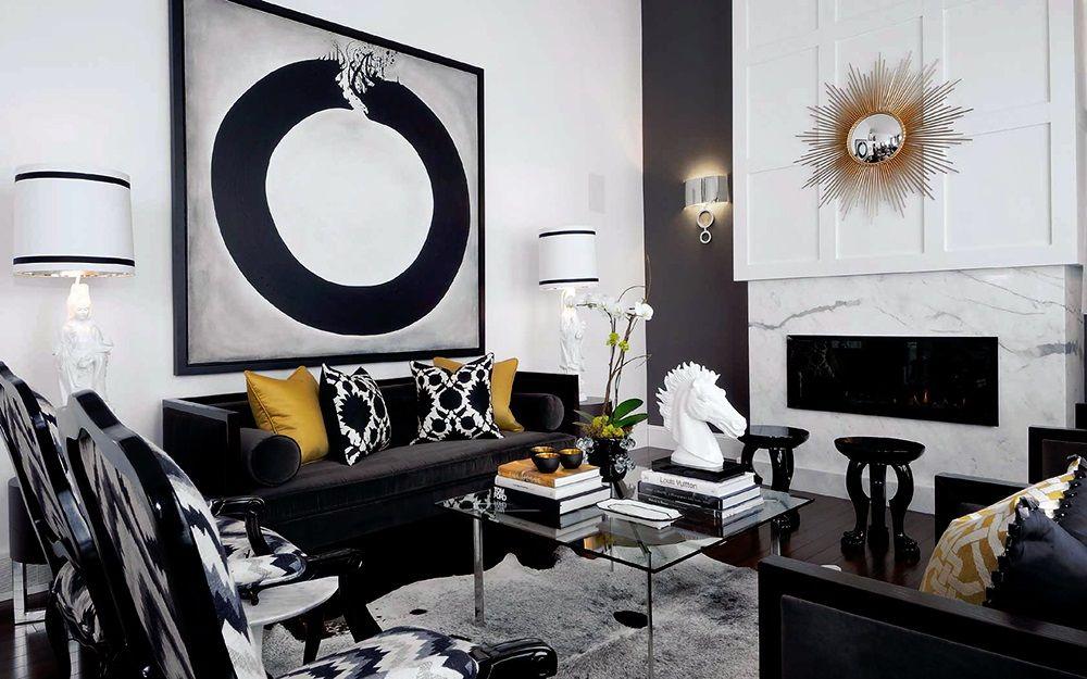 Raboty Dizajnerov Black And White Living Room Gold Living Room
