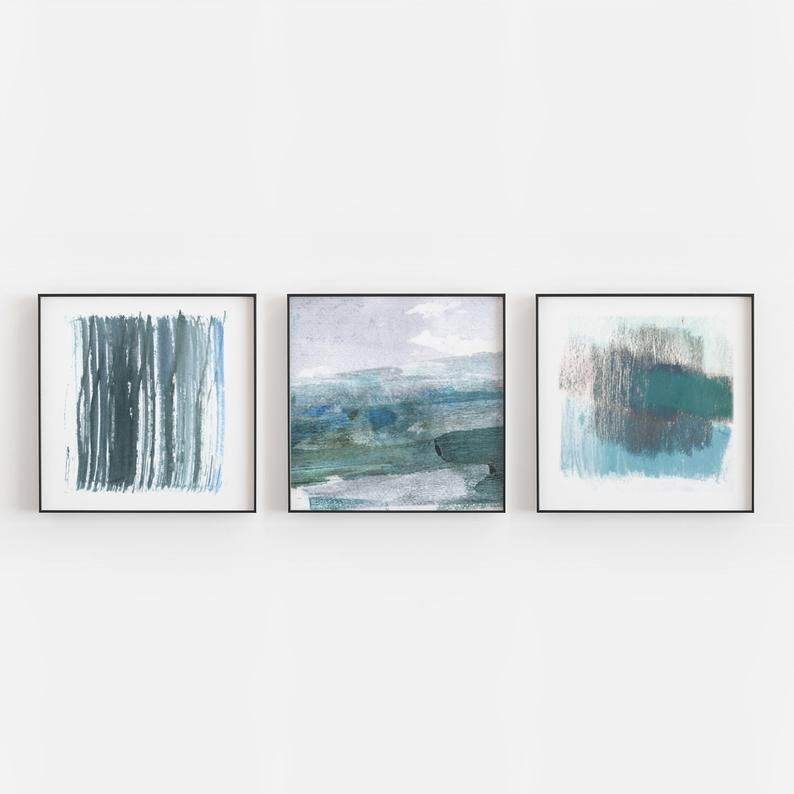 Coastal Abstract Watercolor Wall Art Set Of 3 Square Blue And Etsy Coastal Wall Art Blue Wall Art Unframed Art Prints