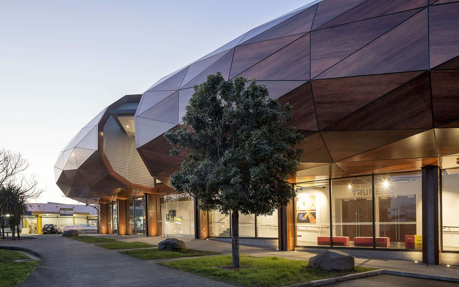 Gigantic log shaped building in new zealand is inspired by for Building canopy design
