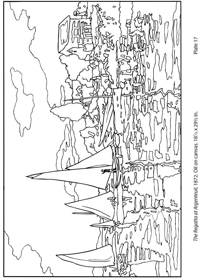 Free Monet Coloring Page | The Regatta at Argenteuil by Monet. CC ...
