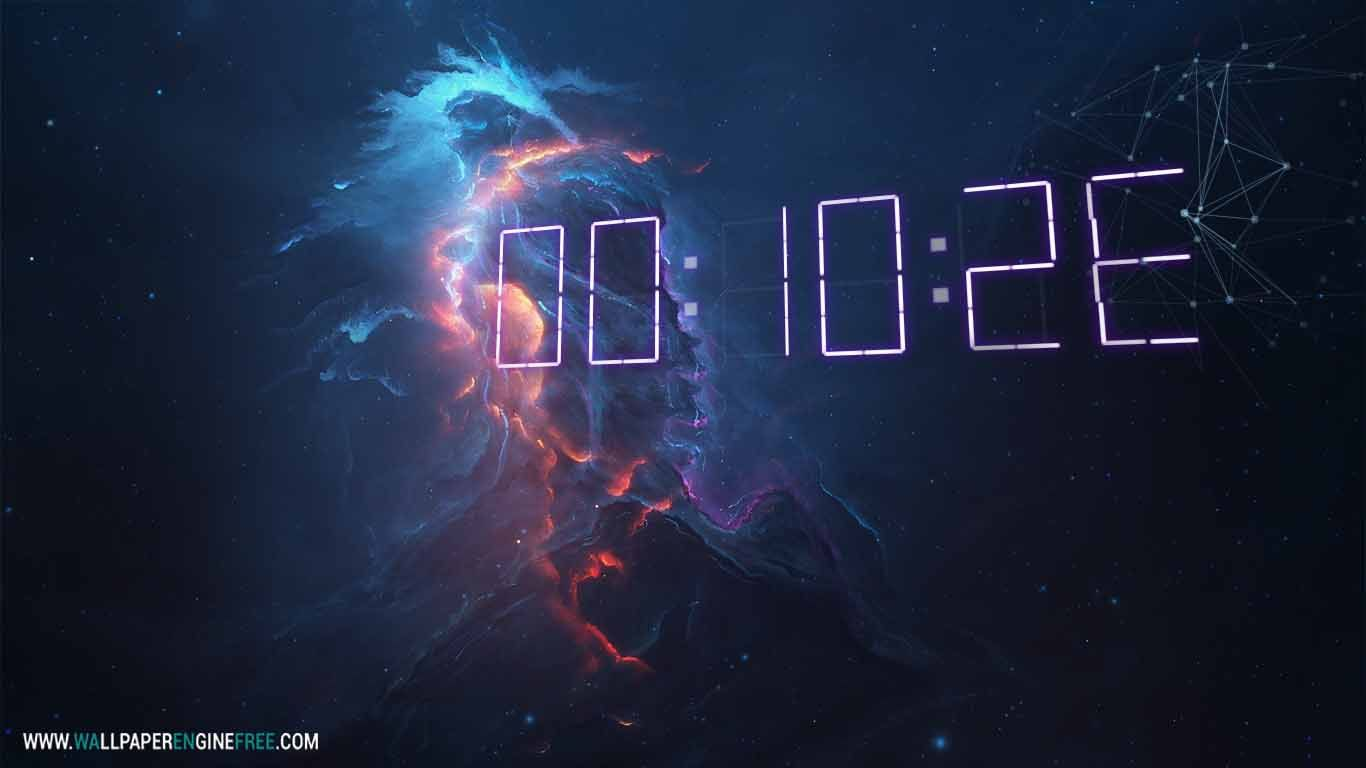 Atlantis Fire 3D Digital Clock Wallpaper Engine