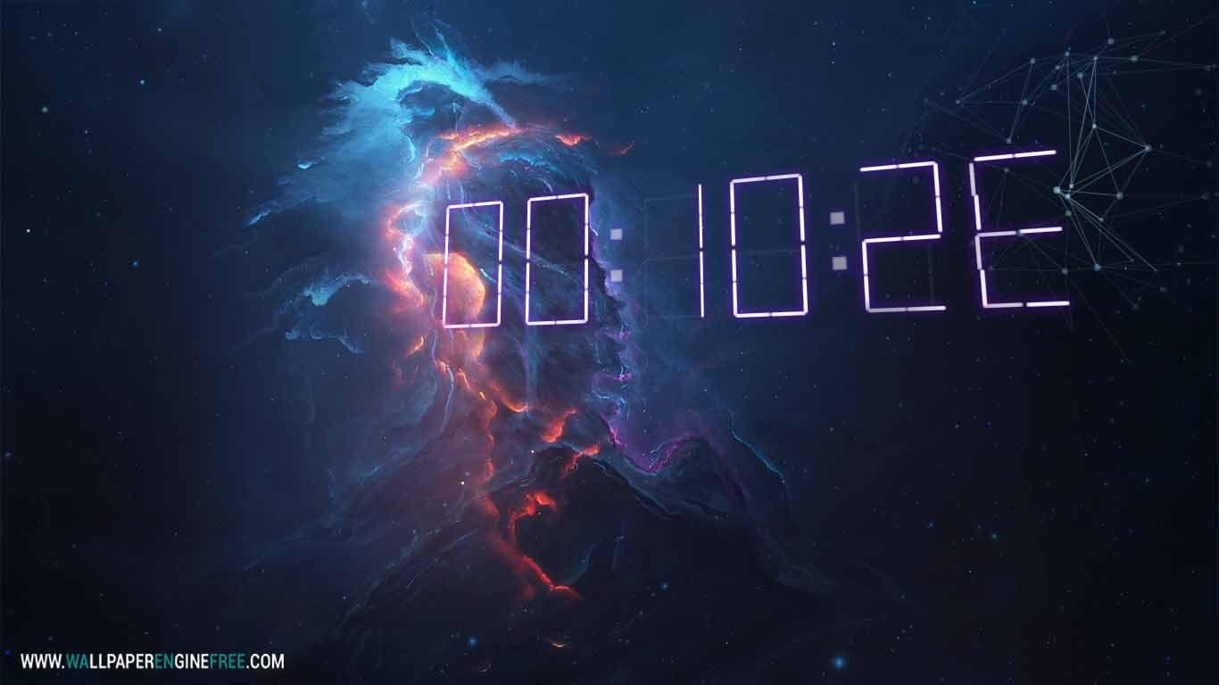 Atlantis Fire 3d Digital Clock Wallpaper Engine Clock Wallpaper Free Animated Wallpaper Digital Clocks
