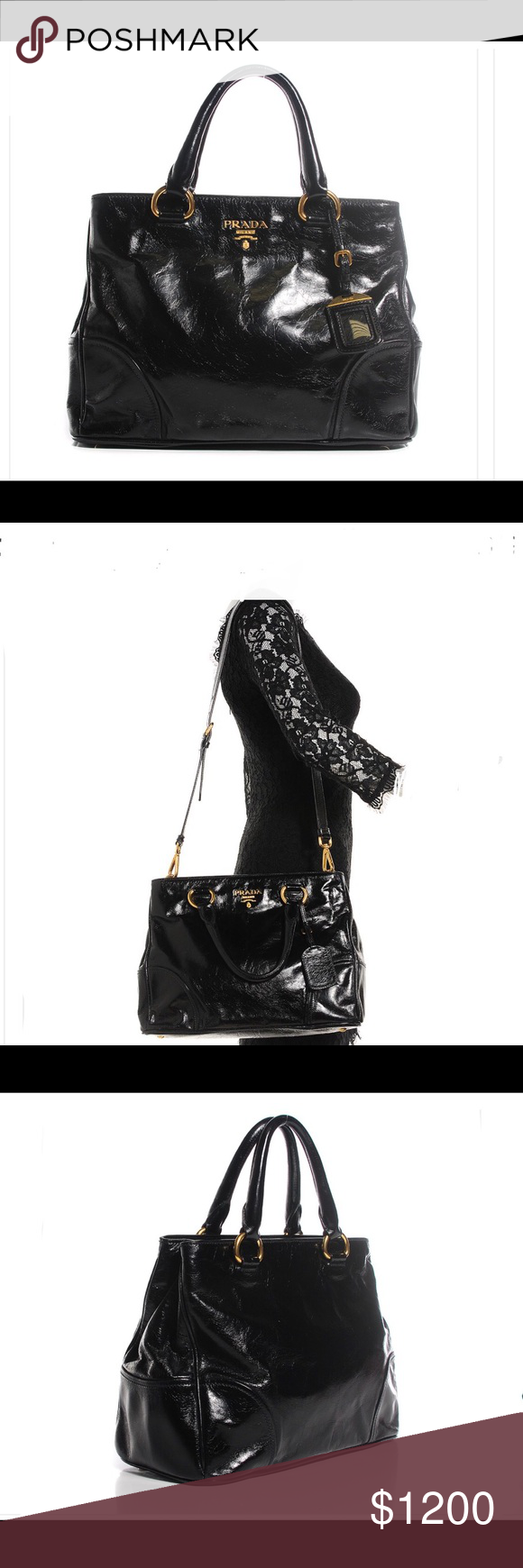 b95d06d9e6a435 New authentic Prada Vitello shine tote Nero Black This stunning Prada tote  is crafted of semi-distressed shiny leather. The bag features rolled  leather top ...
