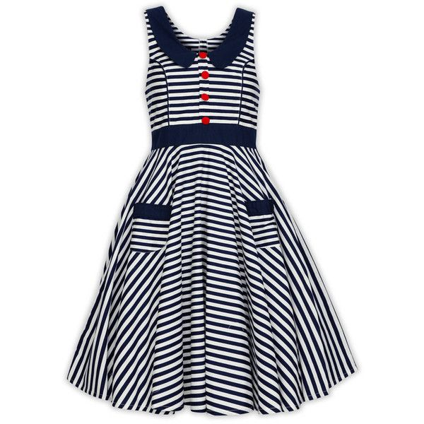 5ac51ede07 Collar Nautical Stripe Dress Sailor Christmas Dress Holiday Dress... ( 42)  ❤ liked on Polyvore featuring dresses