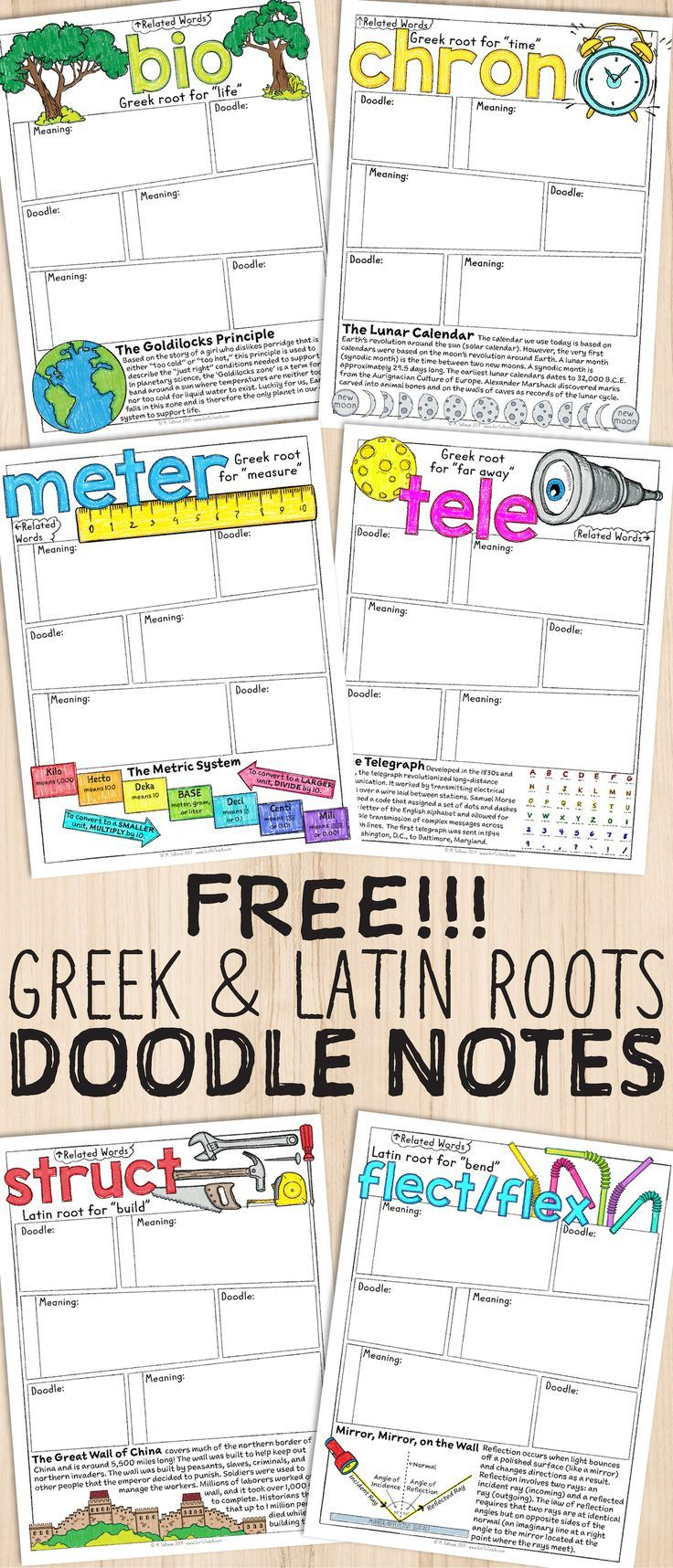 Free Greek And Latin Roots Sketch Notes Literacy Teaching