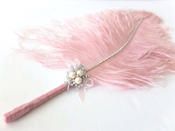 Jumbo Feather Pen With Pearl Brooch / Vintage By