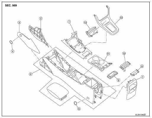 Nissan Sentra Service Manual: Center console assembly