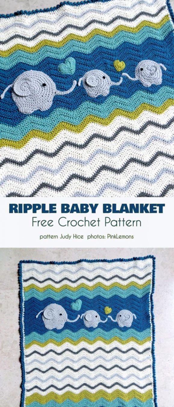 Erstaunliche Ripple Babydecken Free Crochet Pattern   – Knit & Crochet: Blankets
