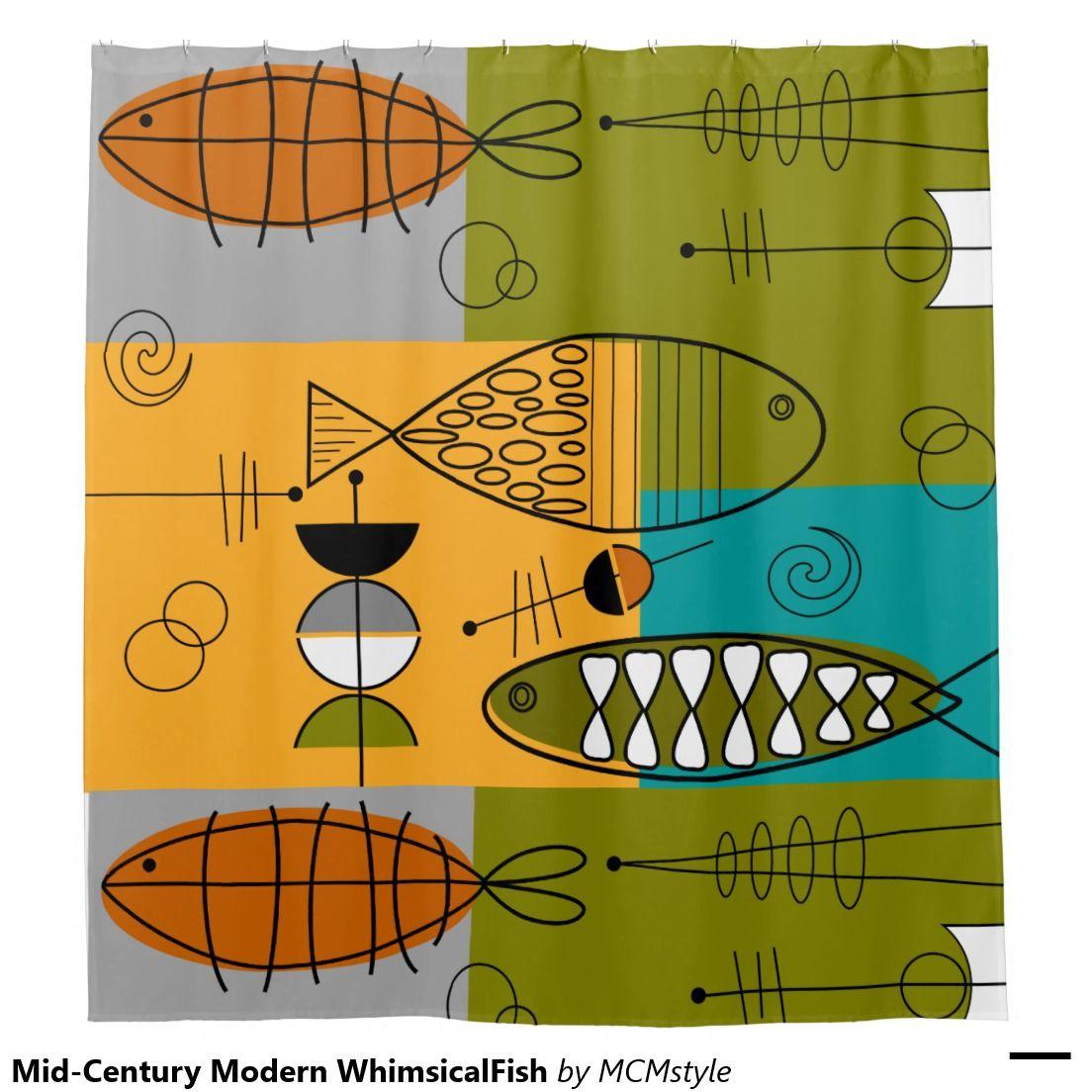 Mid Century Modern Whimsicalfish Shower Curtain Zazzle Com Mid