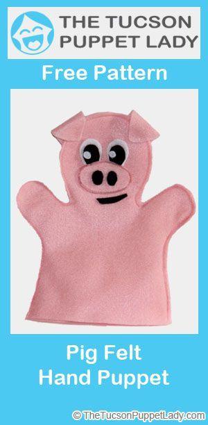 Make your own pig felt hand puppet using our free pattern. #handpuppets #handpuppets