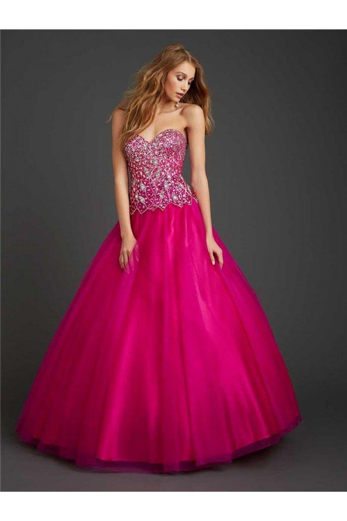 Ball Gown Strapless Sweetheart Fuchsia Tulle Sequin Rhinestone ...