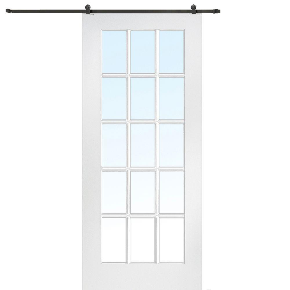 Mmi Door 32 In X 80 In Primed Composite 15 Lite Clear Sliding Barn Door With Hardware Kit Sliding Door Hardware Interior Barn Doors Barn Door Hardware