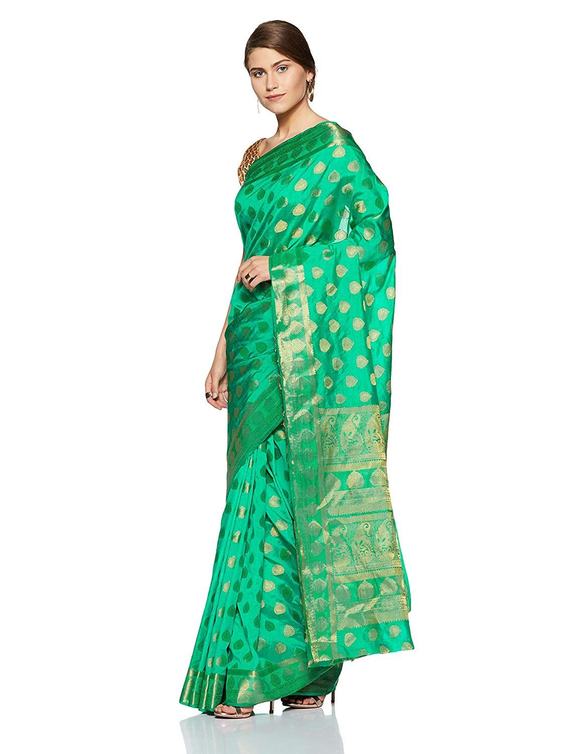 9f31b0204bfc4 Aalia Art Silk Embroidered Saree with Blouse piece (6993 Sea Green One  size)  Amazon.