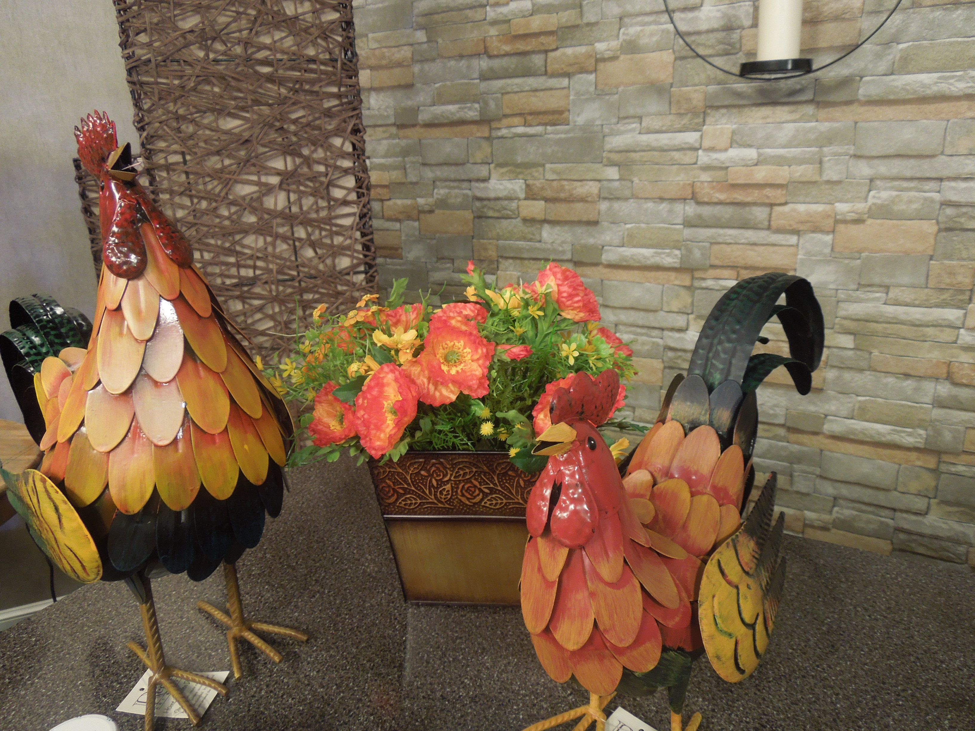 Decorative Chickens And Flowers From The Harvest World Market In