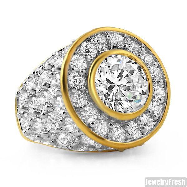 Unique Design 105 Carat Gold Wedding Ring Big Rocks Custom Mens