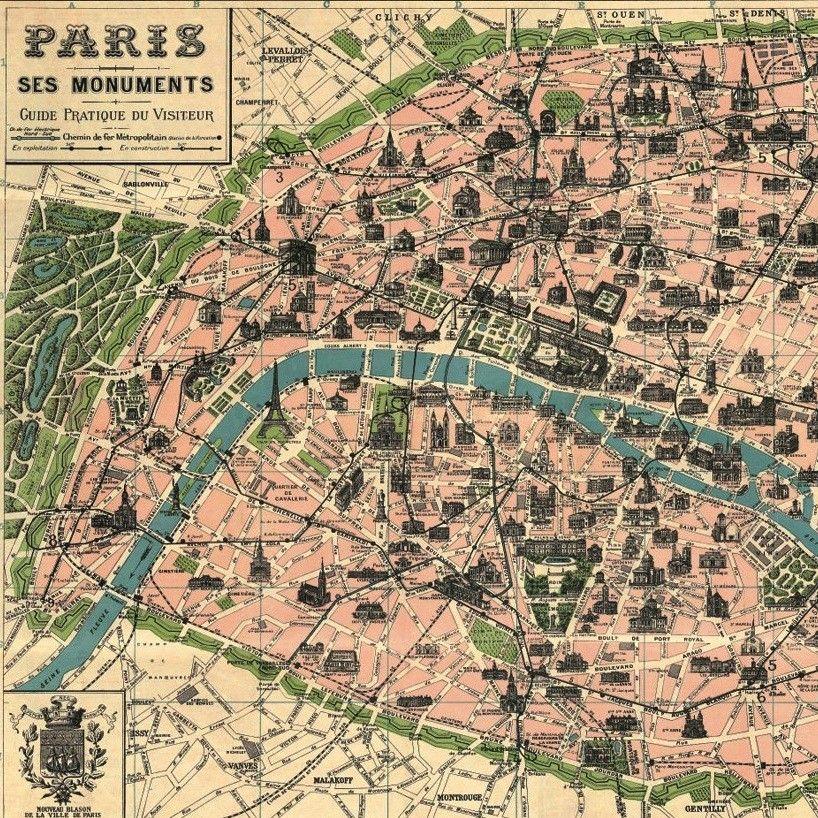 Vintage Map Of Paris Poster By Cavallini Maps Pinterest: Vintage Paris Map Poster At Infoasik.co