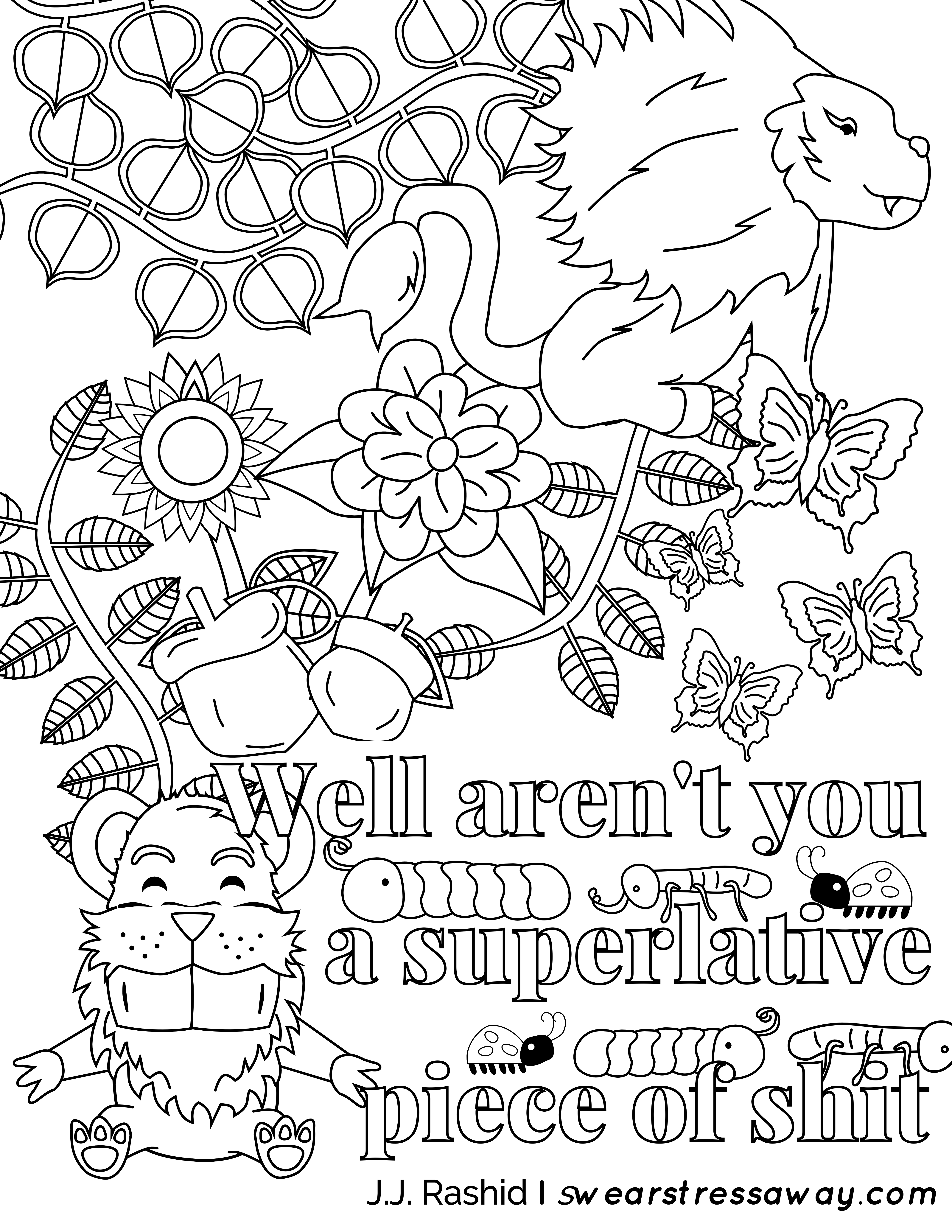 Well aren\'t you a superlative piece of shit- Adult Coloring Page ...