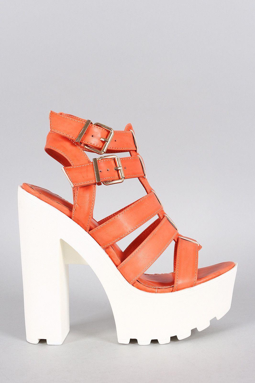 Shoe Republic Two-Tone Cage Lug Sole Platform Heel