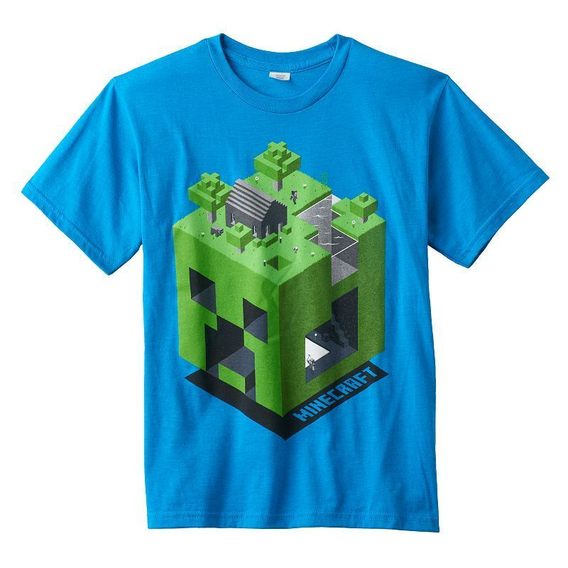 Boys 8-20 Minecraft Creeper Dimension Tee, Boy's, Size: Medium, Turquoise/Blue (Turq/Aqua)
