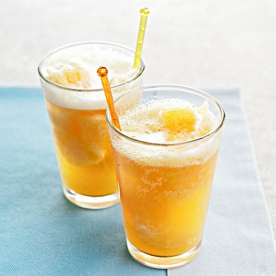 Sparkling Peach Punch  Impress party guests with this fizzy drink featuring peach nectar, fresh peach slices, lemon juice, and ginger ale