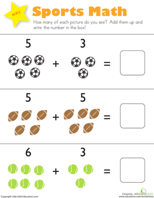 Sports Math Worksheet Education Com Kindergarten Addition Worksheets Addition Kindergarten Kindergarten Math