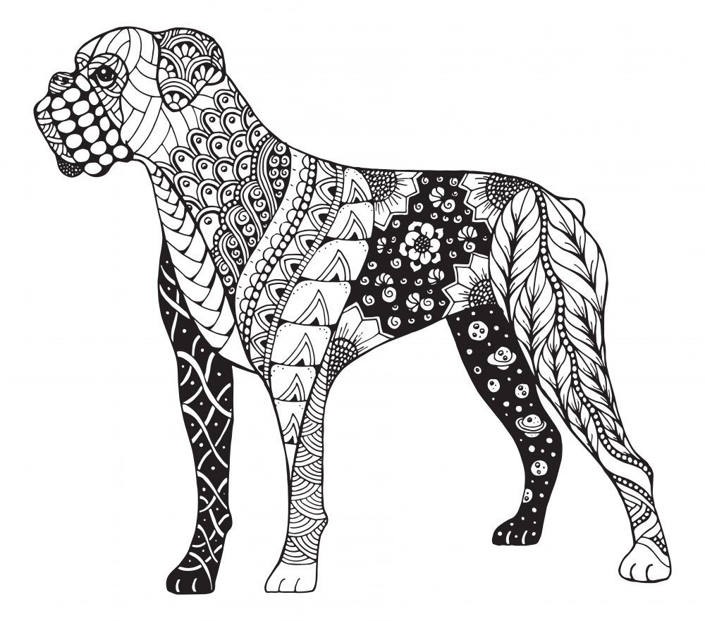 Mandalas de perros faciles l ska all you need is love - Coloriage de chien boxer ...