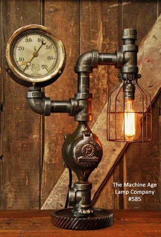 Machine Age Steampunk Steam Gauge Lamp 585  iluminacion