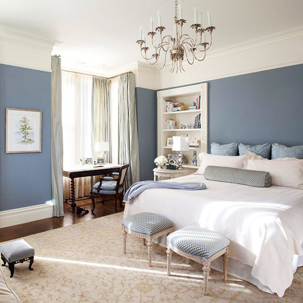 Master Bedroom - love the blue walls with white bedding, blue and