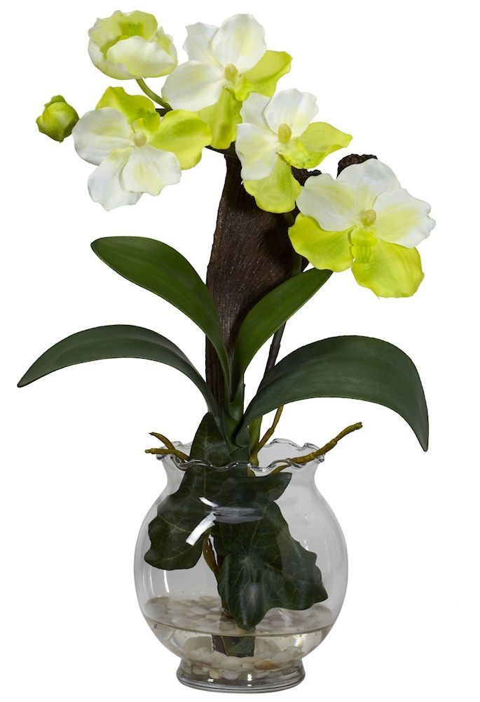 mini vanda silk orchid in water in 3 colors 15 inches - Silk Orchids