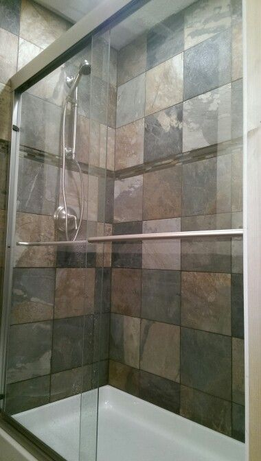 Prime 12X12 Slaty Tile Kohler Forte Shower Kohler Shower Door Home Interior And Landscaping Ponolsignezvosmurscom