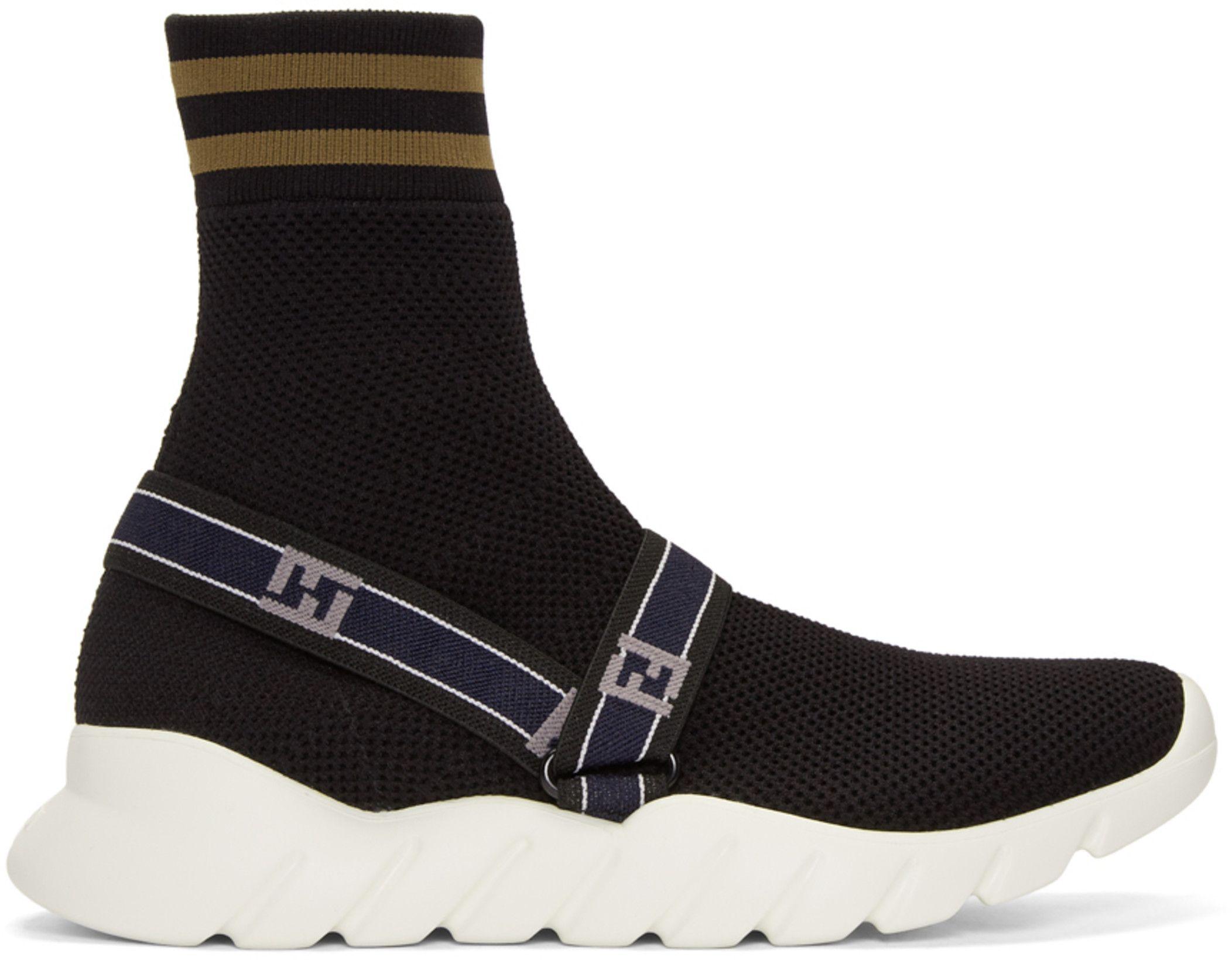 6638714e486b Fendi - Black  Forever Fendi  Knit High-Top Sneakers   for items ...